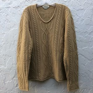 J CREW Tan Chunky Knit Lambswool Pullover Sweater Size XL